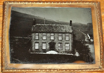 Haworth Parsonage viewed from the Church Tower c1857, possibly by John Stewart.