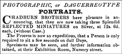 Advert for Chadburn Brothers' Daguerreotype Gallery, Sheffield, 1843.